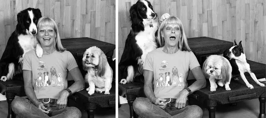 Mary Schelling and her three dogs